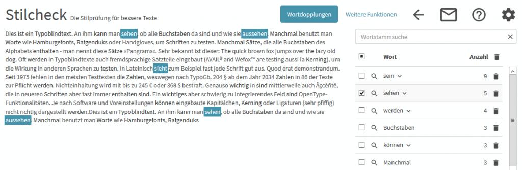 Wortwiederholungen werden im Stilcheck aufgelistet und im Text markiert.