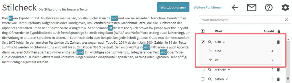 Wortwiederholungen im Text finden: Auflistung der Wörter, die zu einem Hauptwort gehören